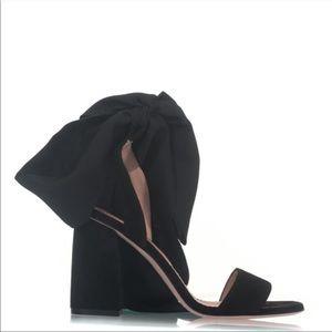 Valentino Suede Satin Tie Sandals